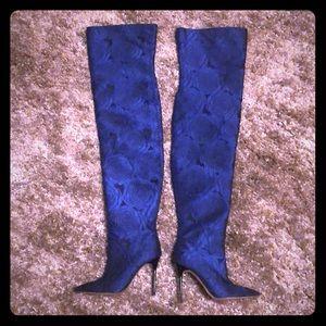 Zara women's new boots blue flowers size 8 M new
